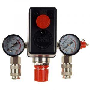 kompresszor nyomáskapcsoló két mérőórával piros kapcsolóval felülnézetből